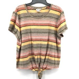 FOR THE REPUBLIC Striped Short Sleeve Tie Front Top